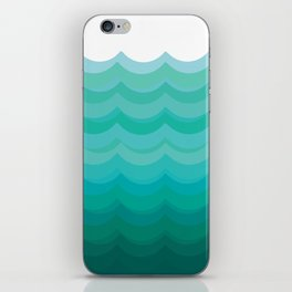 Wave pattern, blue and green pattern, home decor iPhone Skin