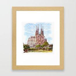 La Sagrada Familia watercolor Framed Art Print