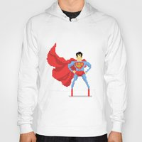 superman Hoodies featuring Superman by Bastonmag