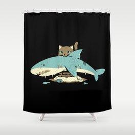 Cat Shark Funny Cat T-shirt  Shower Curtain
