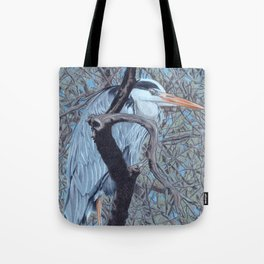 Grey Heron (Ardea Cinerea) Colored Pencils Artwork Tote Bag