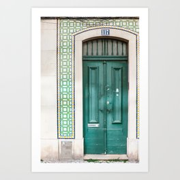 Tiled Green Door Art Print