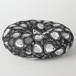 Hedgehog Paisley_White and Black Floor Pillow