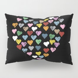 Distressed Hearts Heart Black Pillow Sham