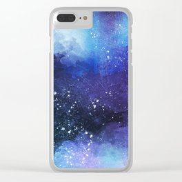 Watercolor Space Paint Clear iPhone Case