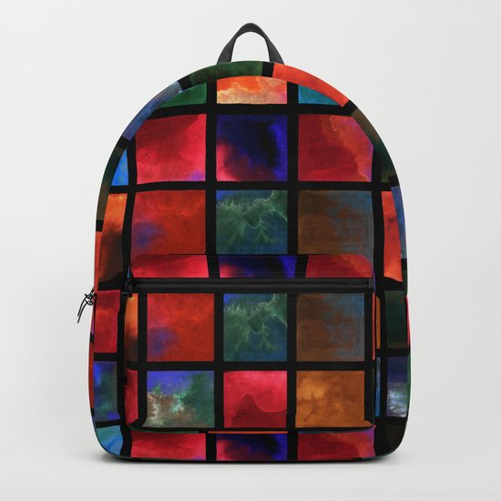 Watercolor pattern of squares 2 . Backpack