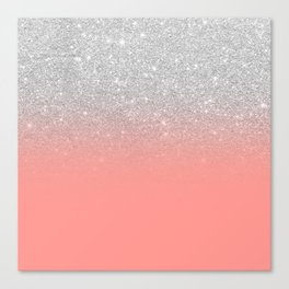 Modern chic coral pink silver glitter ombre gradient Canvas Print