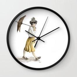 Girl with an umbrella Wall Clock
