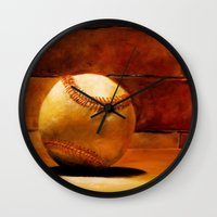 baseball Wall Clocks featuring Baseball by Michelle Sauer