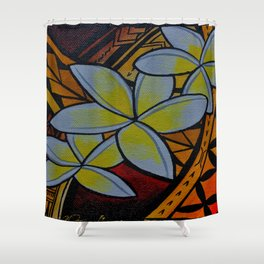 Fiery Plumerias Shower Curtain