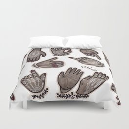 hand gestures and white henna tattoo Duvet Cover