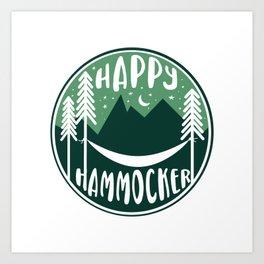 Happy Hammocker - Green Night Sky Art Print