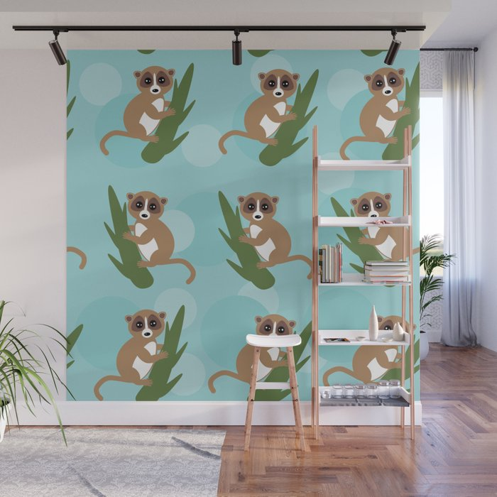 pattern - lemur on green branch on blue background Wall Mural