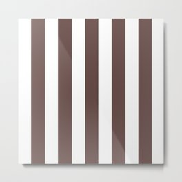 Medium taupe brown - solid color - white vertical lines pattern Metal Print