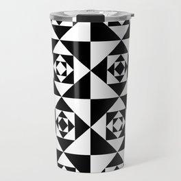 Black & White Detailed Geometric Triangles Digital Pattern Travel Mug