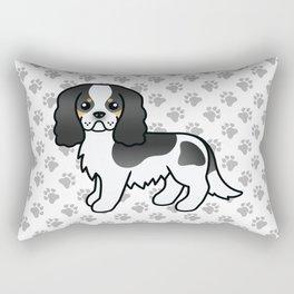 Cute Tricolor Cavalier King Charles Spaniel Dog Cartoon Illustration Rectangular Pillow