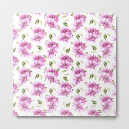 Modern hand painted lilac pink watercolor floral daisies pattern Metal Print