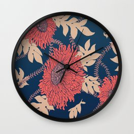 Fictitious Floral Print Wall Clock