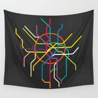 moscow Wall Tapestries featuring moscow metro map by Live It Up