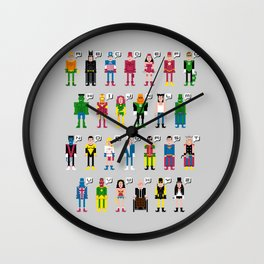 Pixel Superhero Alphabet 2 Wall Clock