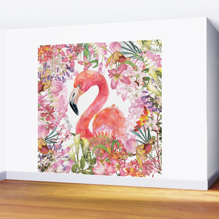 Flamingo in Tropical Flower Jungle Wall Mural