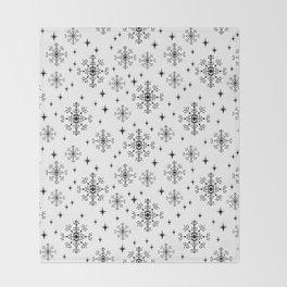 Snowflakes winter christmas minimal holiday black and white decor gifts Throw Blanket