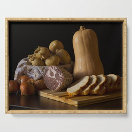 Italian Still Life with Ham and Vegetables Serving Tray