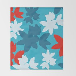 Bold Blue and Red Floral Pattern Throw Blanket