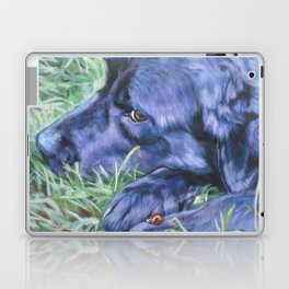 Black Lab LABRADOR RETRIEVER dog portrait painting by L.A.Shepard fine art Laptop & iPad Skin