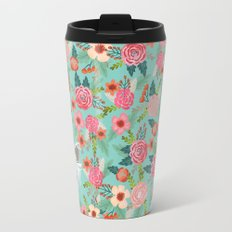 Chinese Crested floral dog breed pattern cute dog gifts for dog lovers Metal Travel Mug