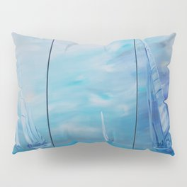 Regata Yachts Sailboat Marine tryptych blue paintings S054 Acrylic Original Contemporary Art for Lou Pillow Sham