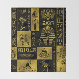 Egyptian  Gold hieroglyphs and symbols collage Throw Blanket