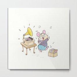 Record Loving Hamster Metal Print