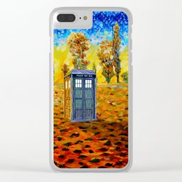 Blue phone Booth at Fall Grass Field Painting Clear iPhone Case
