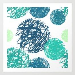 minimalist abstract nordic geometric pattern navy blue teal green brushstroke circle Art Print