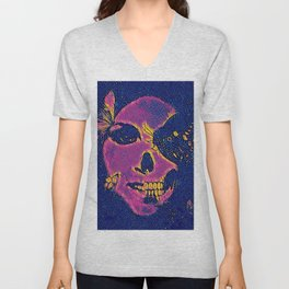 Skull and Butterflies Pink Unisex V-Neck