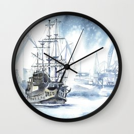 Harbour in Gdynia Wall Clock