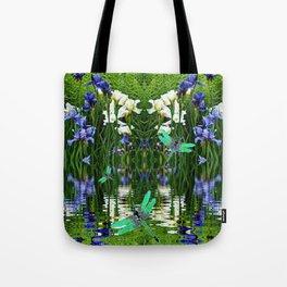 TURQUOISE DRAGONFLIES IRIS WATER REFLECTIONS Tote Bag