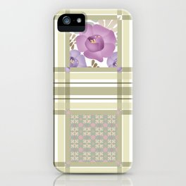 Olive green cage and roses. iPhone Case