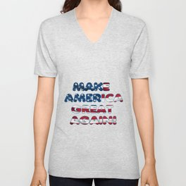 USA Flag MAKE AMERICA GREAT AGAIN typography Unisex V-Neck