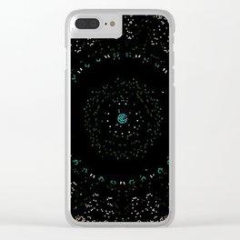 Pixel Dust Black Mandala Clear iPhone Case