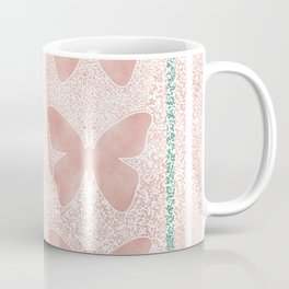 Snow White Peach Butterfly Abstract Pattern Coffee Mug