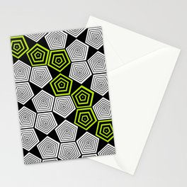 Colour Pop Pentagons - Lime Green Stationery Cards