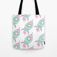 spaceship Tote Bags featuring Spaceship by Kristina Loren