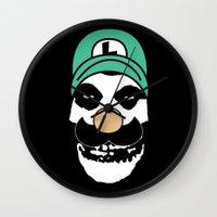 luigi Wall Clocks featuring Misfit Luigi by cudatron