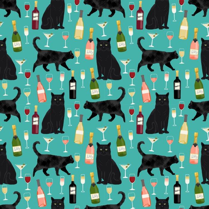 Black cat wine champagne cocktails cat breeds cat lover pattern art print Duvet Cover