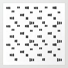 Line Dot Black Paint on Paper Art Print