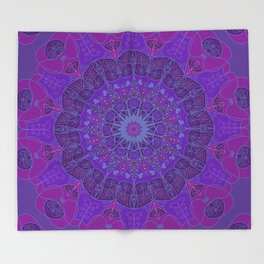 Mandala art drawing design purple fuchsia periwinkle Throw Blanket