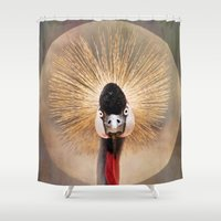 crane Shower Curtains featuring Crested Crane  by Pauline Fowler ( Polly470 )