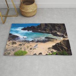 "Forbidden, ""NO TRESPASSING"" Beach in Oahu, Hawaii Rug"